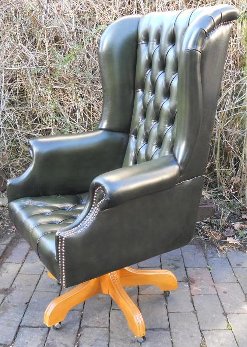 Phenomenal Leather Swivel Desk Chair In Antique Georgian Style Machost Co Dining Chair Design Ideas Machostcouk